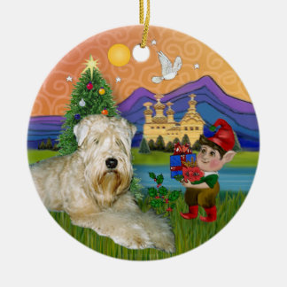 Xmas Fantasy - Soft Coated Wheaten Terrier Round Ceramic Decoration