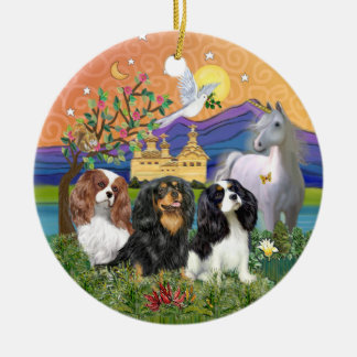 Xmas Fantasy-Three Cavalier King Charles Spaniel Round Ceramic Decoration