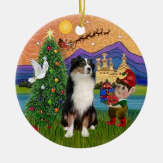 Xmas Fantasy - Tri Australian Shepherd Christmas Ornament
