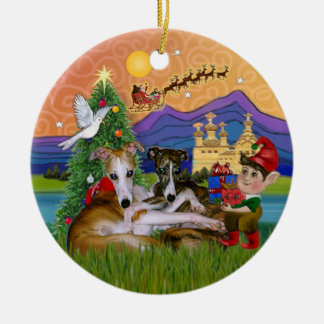 Xmas Fantasy - Two Whippets Round Ceramic Decoration