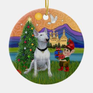 Xmas Fantasy - White Bull Terrier (P) Christmas Ornament