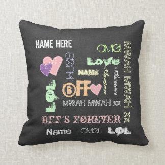Xmas gift ideas BFFs friends, wordcloud cushions