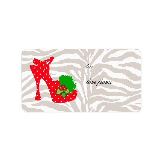 Xmas Gift Labels Cute Zebra Shoe Red dots
