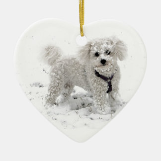 Xmas gifts for girls cute white Bischon Frise Dog Christmas Ornament