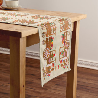 Xmas Gingerbread Steam Trains Pattern Short Table Runner