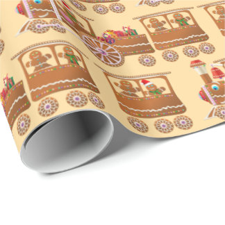 Xmas Gingerbread Steam Trains Pattern Wrapping Paper