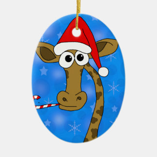 Xmas giraffe - blue ceramic oval decoration