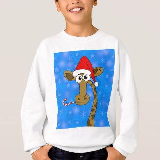 Xmas giraffe - blue sweatshirt