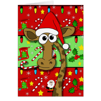 Xmas giraffe - colorful card