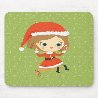 Xmas Girl and snowflakes Mousepad