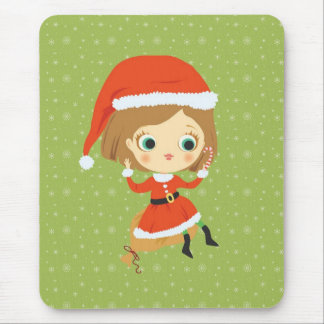 Xmas Girl and snowflakes Mousepad