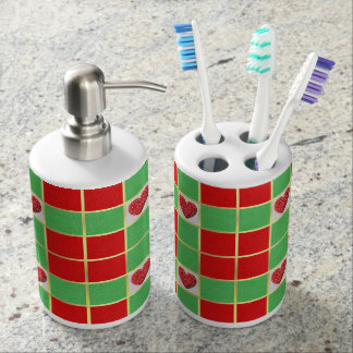 Xmas Hearts Toothbrush Holder & Soap Dispenser Set