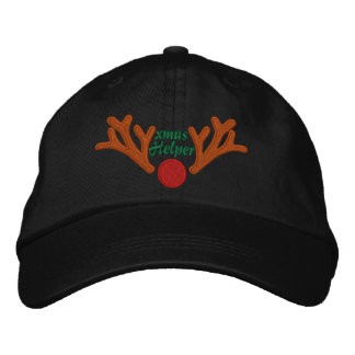 Xmas Helper Red Nose Reindeer Embroidery Embroidered Hats