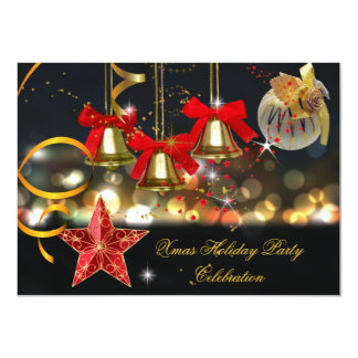 Xmas Holiday Christmas Party Gold Red Black Card