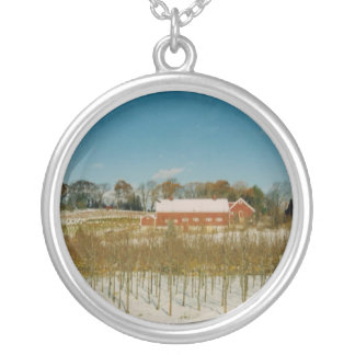 Xmas in New England Round Pendant Necklace