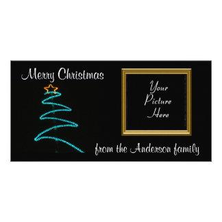 xmas light tree custom photo card