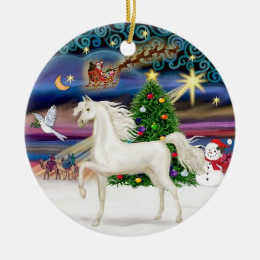 Xmas Magaic - Arabian Horse (white) Christmas Tree Ornaments