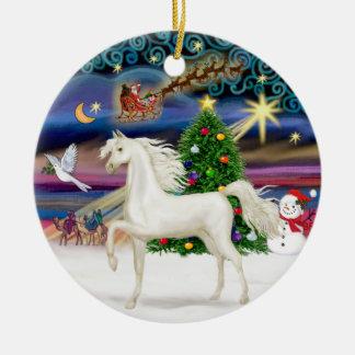 Xmas Magaic - Arabian Horse (white) Round Ceramic Decoration