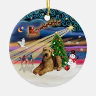Xmas Magic - Airedale 5 (lying down) Christmas Ornament