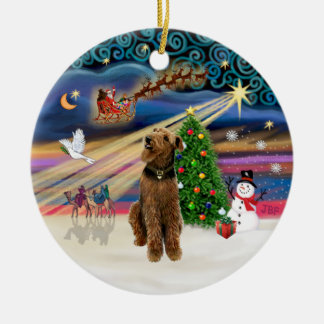 Xmas Magic - Airedale (looking up) Christmas Ornament