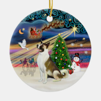 Xmas Magic - Akita (brown-white) Christmas Ornament