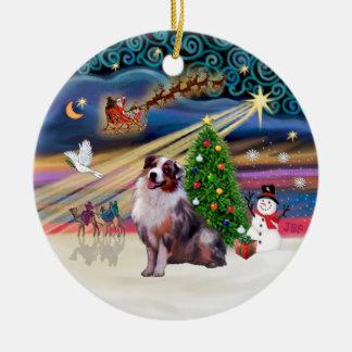 Xmas Magic - Aussie Shepherd 1 (merle) Christmas Ornament