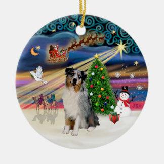 Xmas Magic - Aussie Shepherd (merle) Christmas Ornament