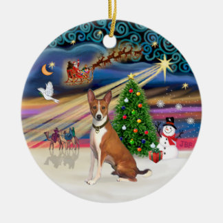 Xmas Magic - Basenji Round Ceramic Decoration