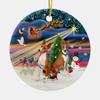 Xmas Magic - Basenjis (two) Round Ceramic Decoration