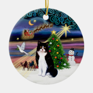 Xmas Magic - Black and White cat Round Ceramic Decoration