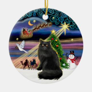 Xmas Magic - Black Persian cat Christmas Ornament