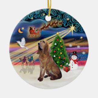 Xmas Magic - Bloodhound Round Ceramic Decoration