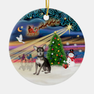 Xmas Magic - Blue and Cream Chihuahua Christmas Ornament