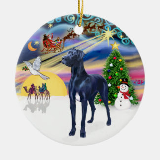 Xmas Magic* - Blue Great Dane (natural ears) Christmas Ornament