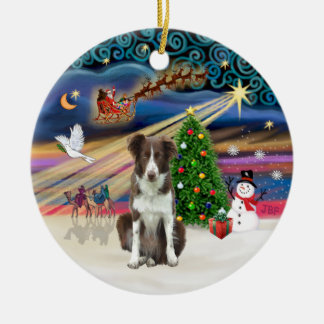 Xmas Magic - Border Collie (brown-white) Christmas Ornament