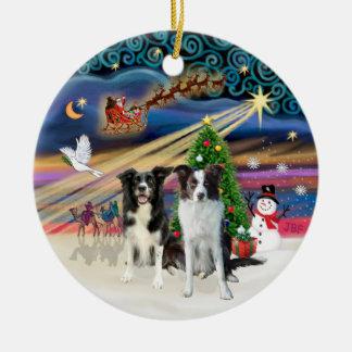Xmas Magic - Border Collies (two-B-Brn) Christmas Ornament