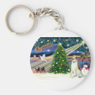 Xmas Magic-Borzoi Key Ring