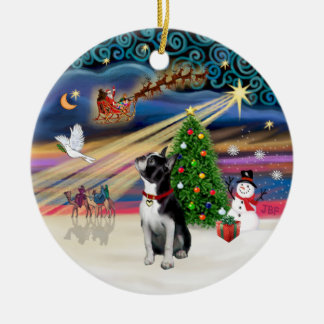 Xmas Magic - Boston Terrier (looking up) Round Ceramic Decoration