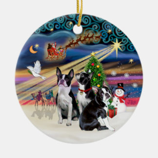 Xmas Magic - Boston Terriers (three) Round Ceramic Decoration