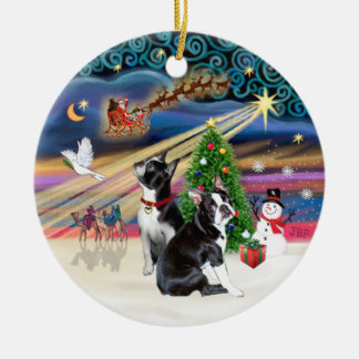 Xmas Magic- Boston Terriers (two) Round Ceramic Decoration