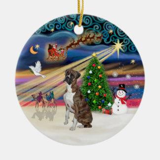 Xmas Magic - Boxer (Brindle-natural) Christmas Ornament