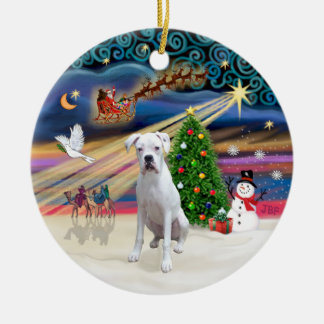 Xmas Magic - Boxer (white) Christmas Ornament