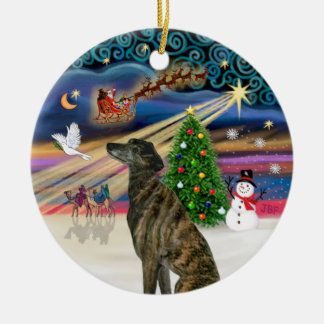 Xmas Magic - Brindle Greyhound Round Ceramic Decoration