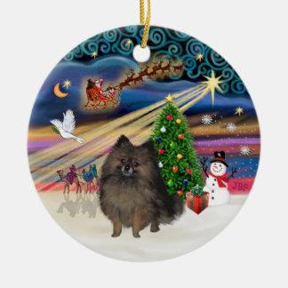 Xmas Magic - Brindle Pomeranian Christmas Ornament