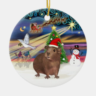 Xmas Magic - Brown Guinea Pig (Santa hat) Christmas Ornament