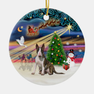 Xmas Magic - Bull Terrier (brindle-white0 Christmas Ornament