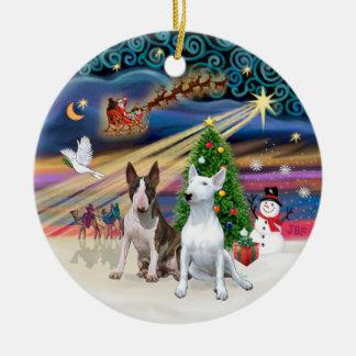 Xmas Magic - Bull Terriers (two) Christmas Ornament