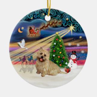 Xmas Magic - Cairn Terrier (wheaten 13) Round Ceramic Decoration