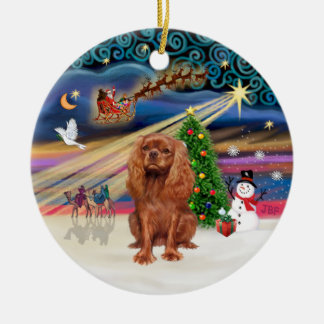 Xmas Magic - Cavalier (ruby 11) Round Ceramic Decoration