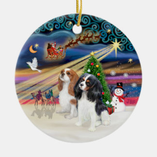 Xmas Magic - Cavaliers (two-Blen-Tri) Round Ceramic Decoration